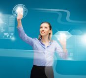 Woman working with virtual screens Royalty Free Stock Images
