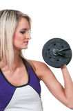 Woman Working with Weights Stock Photos