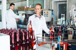 Woman working on wine production on manufactory Stock Image