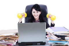 Woman working and workout isolated Royalty Free Stock Photography