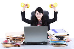 Woman working and workout isolated 1 Royalty Free Stock Image