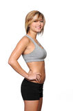 Woman in workout clothes smiling Stock Image