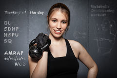 Woman workout of the day  - cross fit wod Royalty Free Stock Image