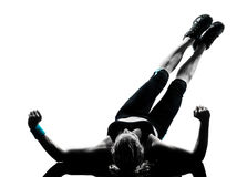 Woman workout fitness posture abdominals push ups Royalty Free Stock Image