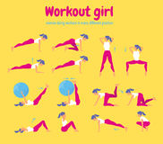 Woman workout fitness. Set of gym icons on yellow background Royalty Free Stock Image