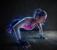 Woman workout with push up Stock Images