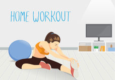 Woman workout in room at home. Royalty Free Stock Photo