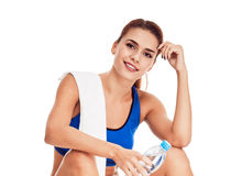 Woman After workout. sweating Royalty Free Stock Photos