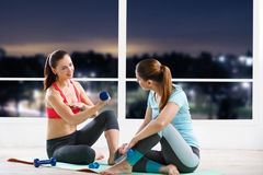 Woman workout with trainer Stock Images