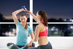 Woman workout with trainer Royalty Free Stock Image