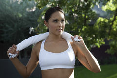 Woman In Workout Wear At Park Stock Images