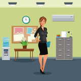 Woman workplace table potted plant cabinet file clock water dispenser. Vector illustration Stock Images