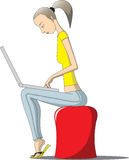 Woman works with computer. Young woman sits on the soft padded stool and works with a notebook Royalty Free Stock Photo