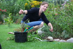 Woman works in the garden Royalty Free Stock Image