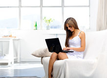 Woman works from home Royalty Free Stock Photography