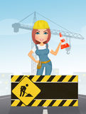 Woman works industry. Illustration of woman works industry Stock Images