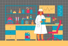 A woman works in a laboratory. Scientific experiment. Scientific work. Illustration in modern flat linear style stock illustration