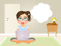 Woman works with laptop. Illustration of woman works with laptop Royalty Free Stock Images