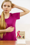 Woman and world breast cancer day on calendar Stock Photography