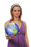 Woman with world globe Royalty Free Stock Photography