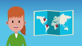 Woman and travel HD animation. Woman with world map destinations High definition colorful animation scenes stock video footage