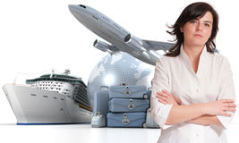 Woman and world tour. Attractive woman with an international tourism background Stock Photography