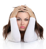 Woman with worried expression facial Stock Images