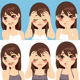 Woman Worried Expressions. Cute brunette woman posing making different worried sad face expressions Stock Photography