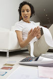 Woman Worried About Finances Stock Photography