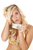 Woman worried last dollar Royalty Free Stock Images