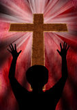 Praising God. Woman worship and praise. Jesus Christ is alive Royalty Free Stock Photo