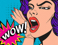 Woman with wow sign. Vector illustration in pop Royalty Free Stock Photography
