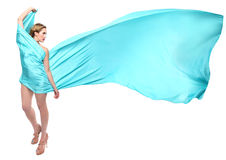 Woman Wrapped in Blue Flowing Fabric Royalty Free Stock Photo