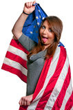 Woman Wrapped in a Flag Royalty Free Stock Photos