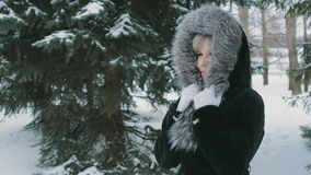 Woman Wrapped In A Fur Collar 1 stock footage