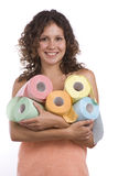 Woman Wrapped In Bath Towel With Toilet Paper Stock Image