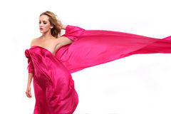 Woman Wrapped in Pink Flowing Fabric Stock Images