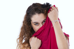 Woman wrapped with a red tissue Royalty Free Stock Image