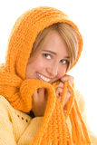 Woman wrapped scarf Royalty Free Stock Photo