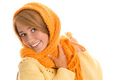 Woman wrapped scarf Royalty Free Stock Photos