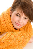 Woman wrapped scarf Stock Photos