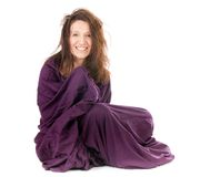 Woman wrapped in sheet Royalty Free Stock Photo