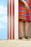 Woman Wrapped With Towel In Beach Cabin royalty free stock photography