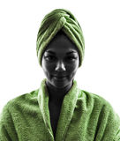 Woman wrapped in towel portrait silhouette Royalty Free Stock Images