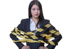 Woman wrapped up in tape Stock Images