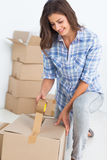 Woman wrapping a box Stock Photography