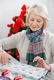 Woman Wrapping Christmas Gift Stock Photos