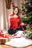 Woman Wrapping and Decorating Christmas Present with small cat stock photo