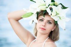 Woman in wreath Stock Photo