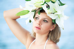 Woman in wreath Stock Images